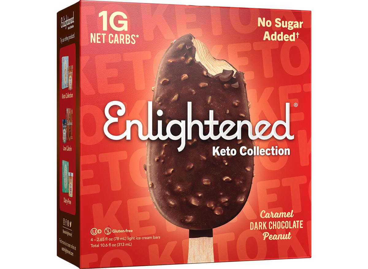 Enlightened keto caramel chocolate peanut butter ice cream
