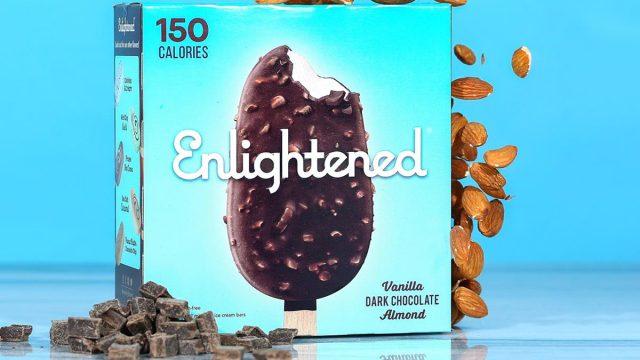 Enlightened vanilla dark chocolate almond low sugar low calorie ice cream bars