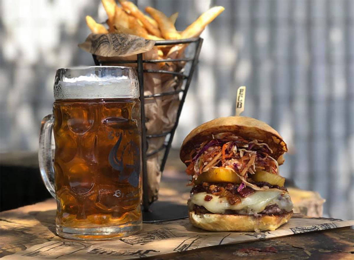 beer and burger from evil czech brewery in indiana