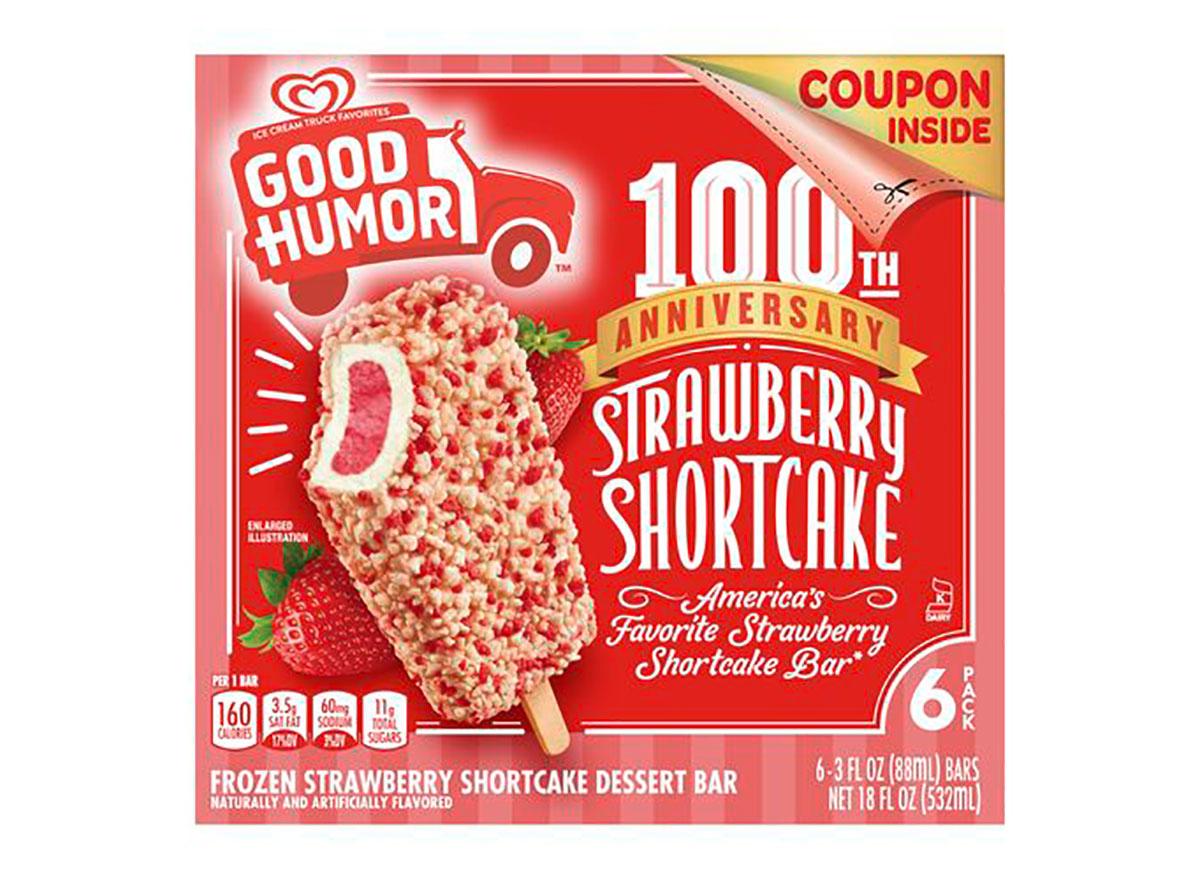 box of good humor strawberry shortcake bars 100th anniversary packaging