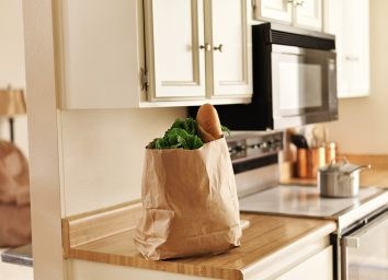 grocery bag on kitchen counter