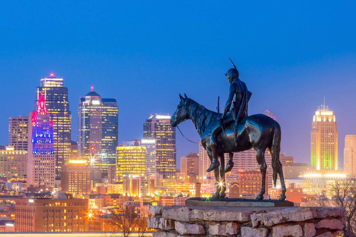 Kansas City skyline with The Scout monument.