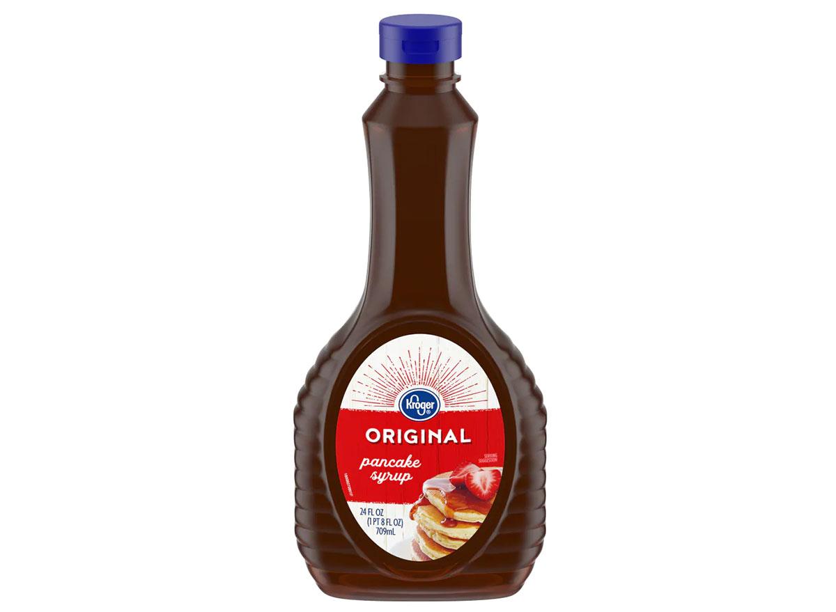 bottle of kroger maple syrup