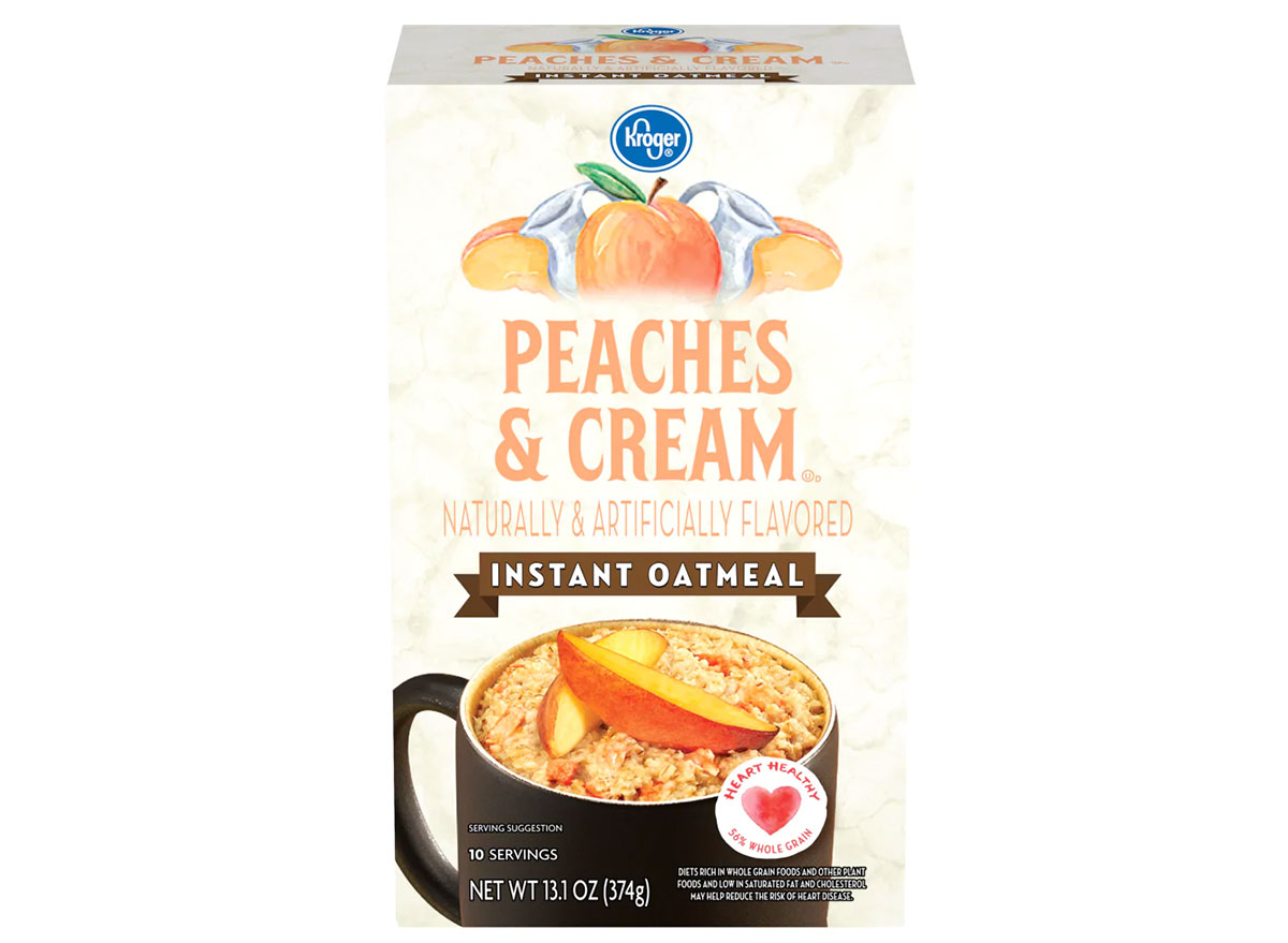 box of kroger peaches and cream instant oatmeal