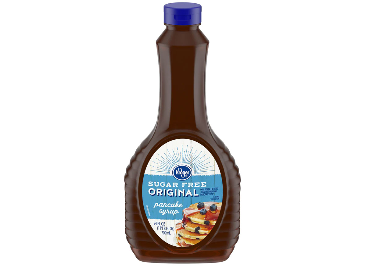 bottle of kroger sugar free pancake syrup