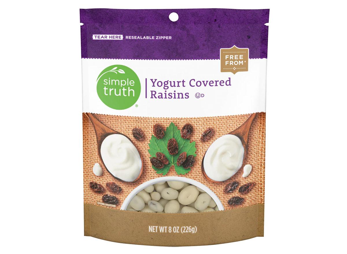 bag of kroger yogurt covered raisins