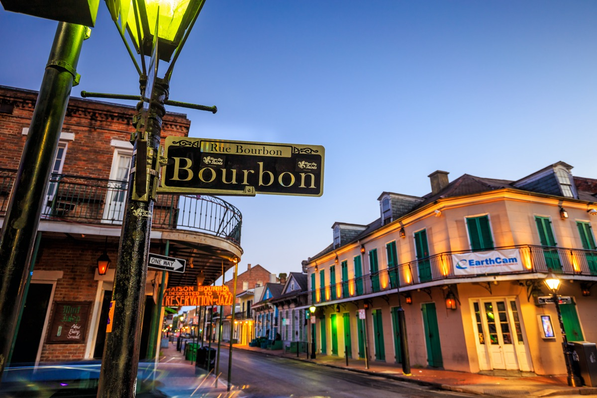 Pubs and bars with neon lights in the French Quarter,