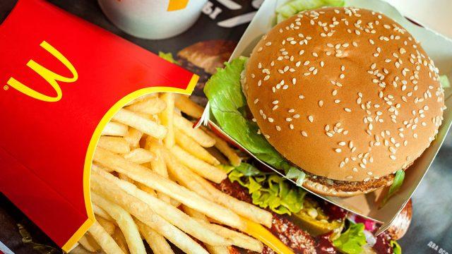 McDonalds burger and fries