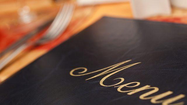 menu on table