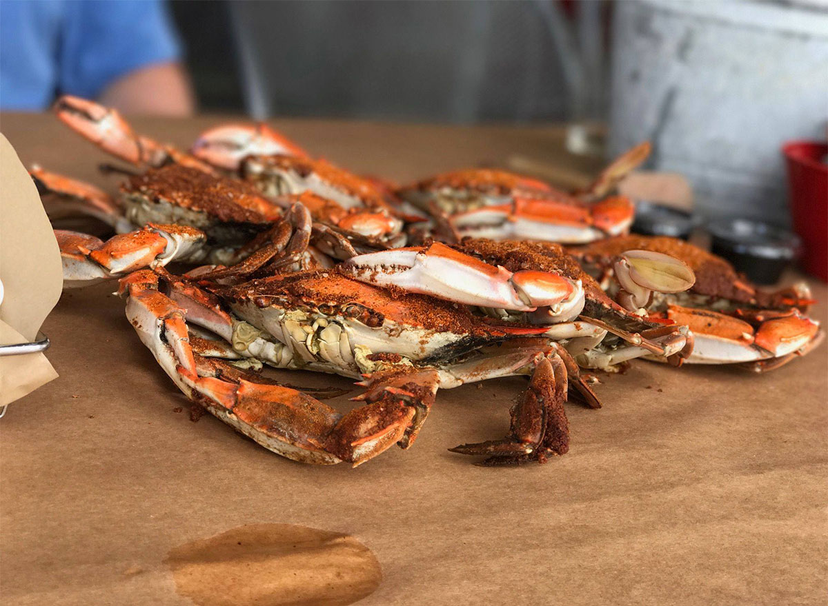 pile of crabs on table
