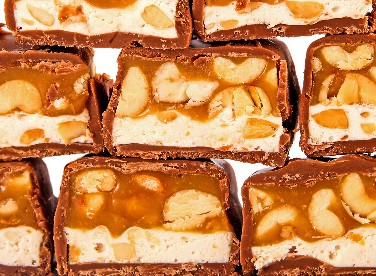 candy bar with peanut and caramel