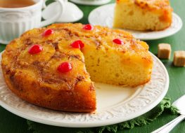 pineapple upside down cake with slice