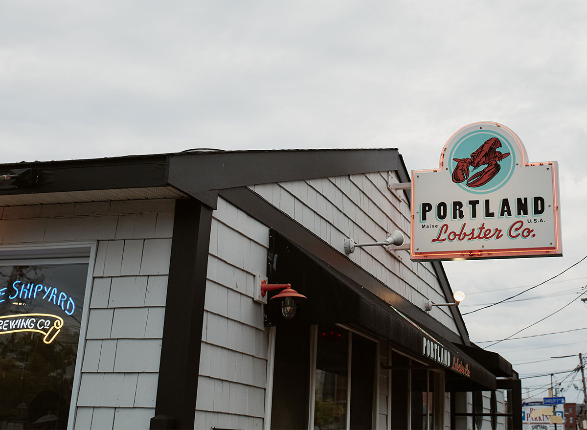 sign at portland lobster company restaurant