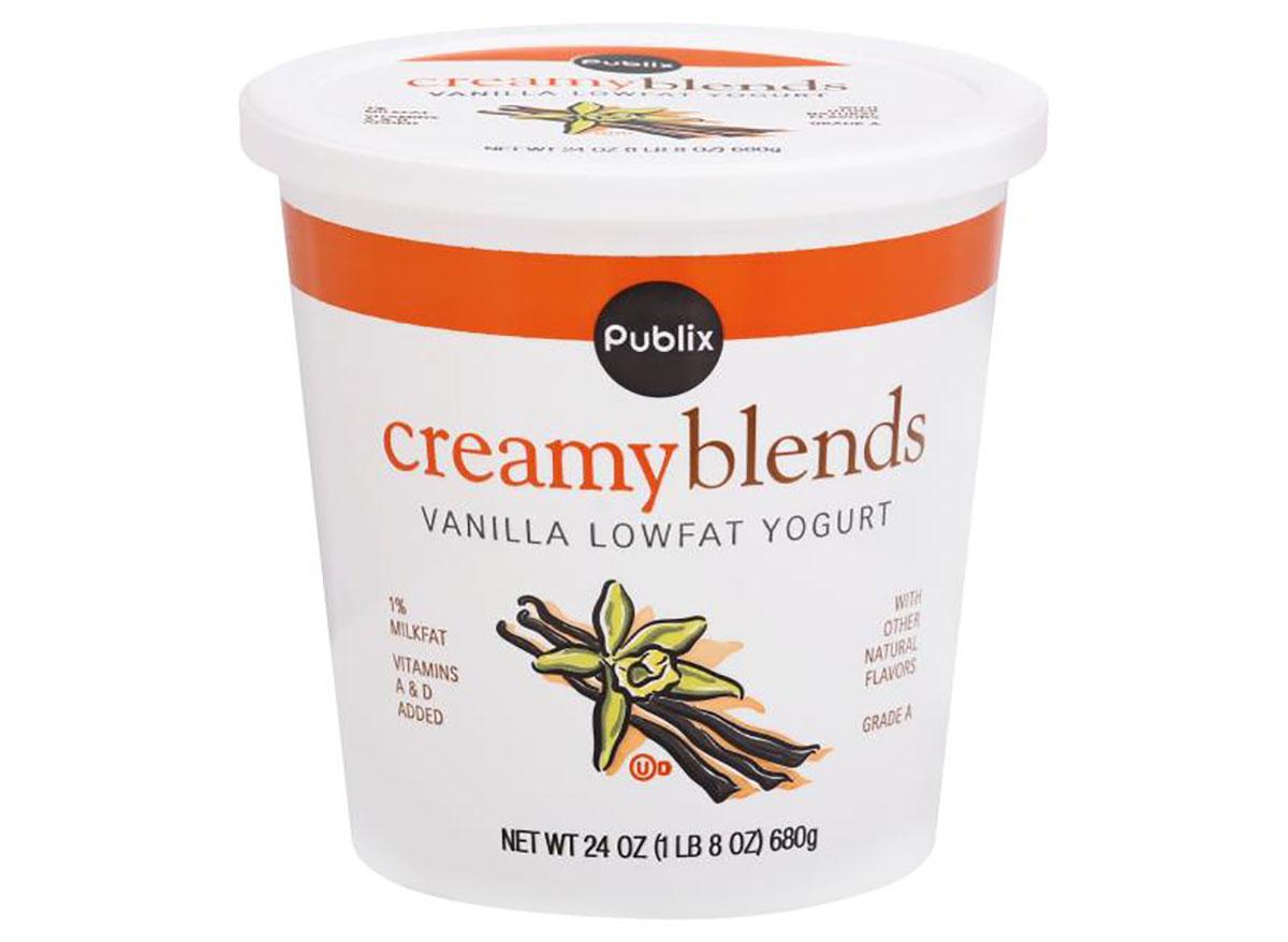 tub of publix creamy blends vanilla yogurt