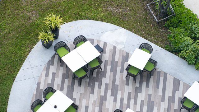 overview of outdoor dining at restaurant