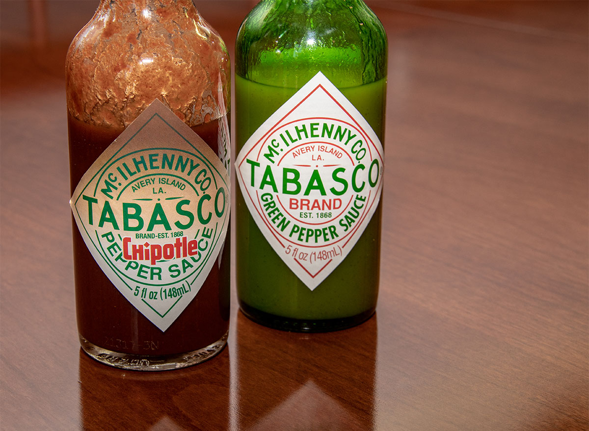 bottles of red and green tabasco sauce