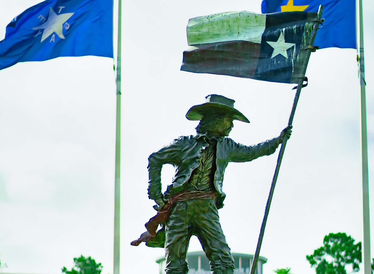 Statue of Texian soldier celebrating Texas' independence from Mexico.