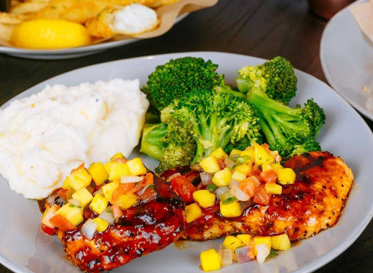 tgi fridays dragon glaze salmon with mashed potatoes and broccoli