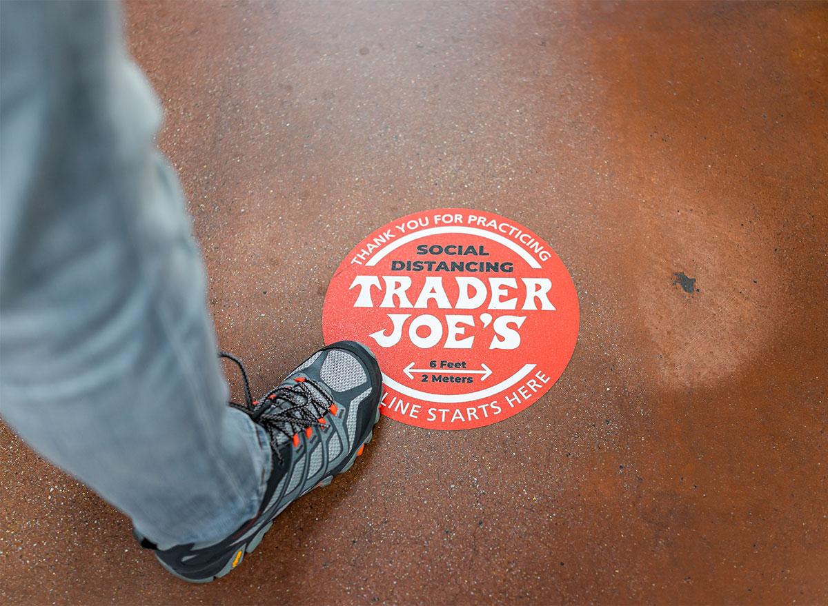 social distancing floor sign at trader joes