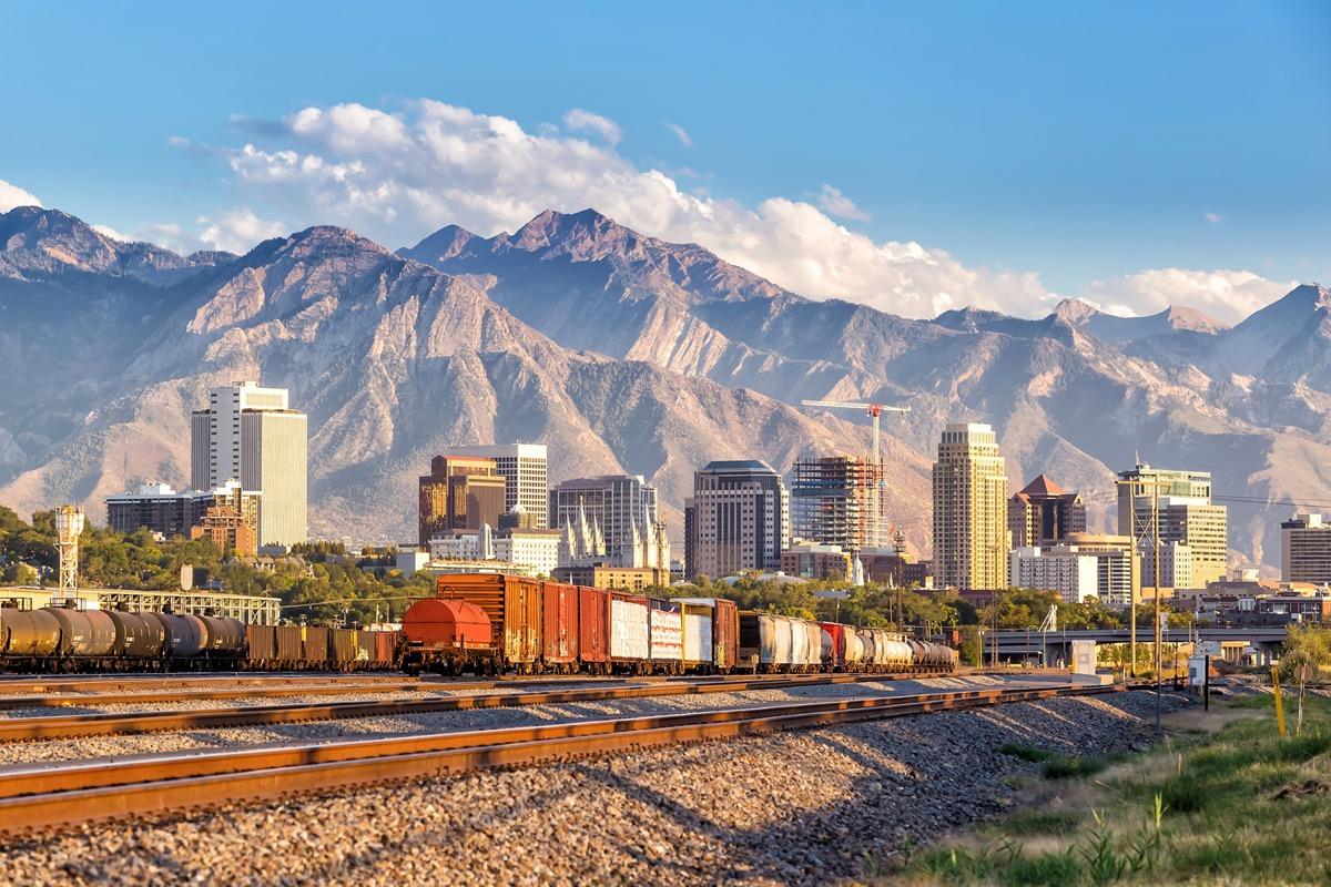 Downtown Salt Lake City skyline Utah in USA.