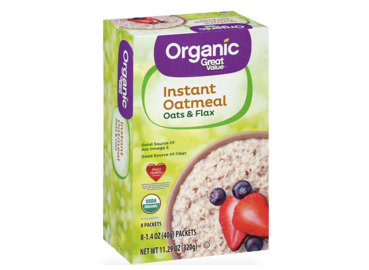 box of walmart instant oatmeal with flaxseed