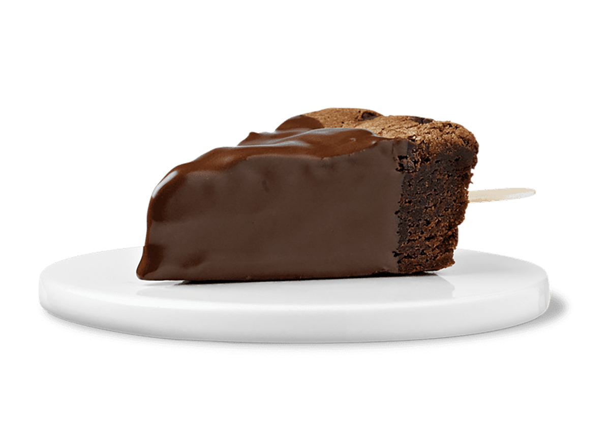 white castle fudge dipped brownie on a stick