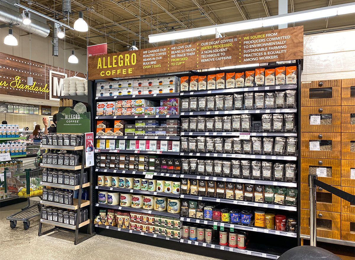 allegro coffee aisle at whole foods