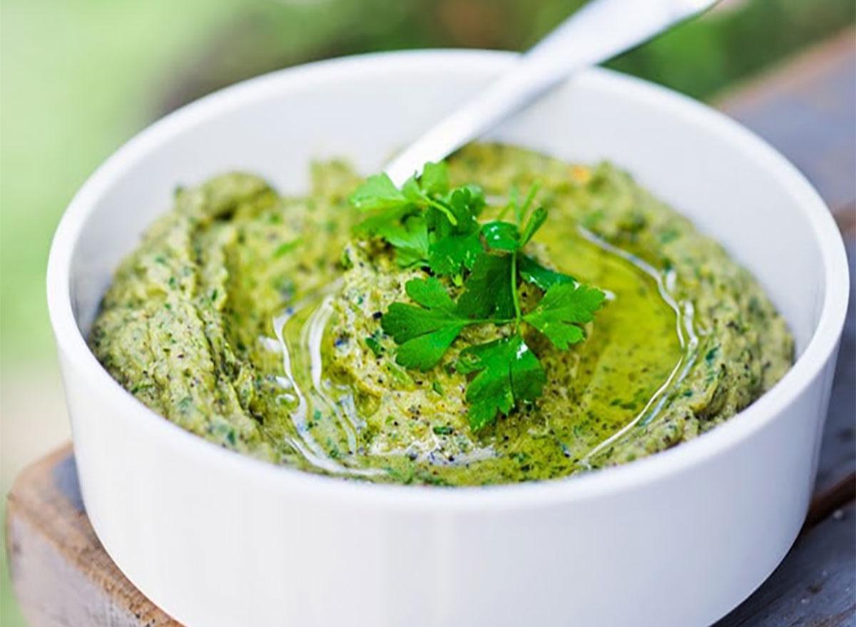 bowl of zucchini hummus