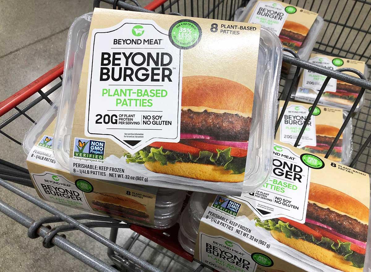 beyond burger packs in grocery store cart