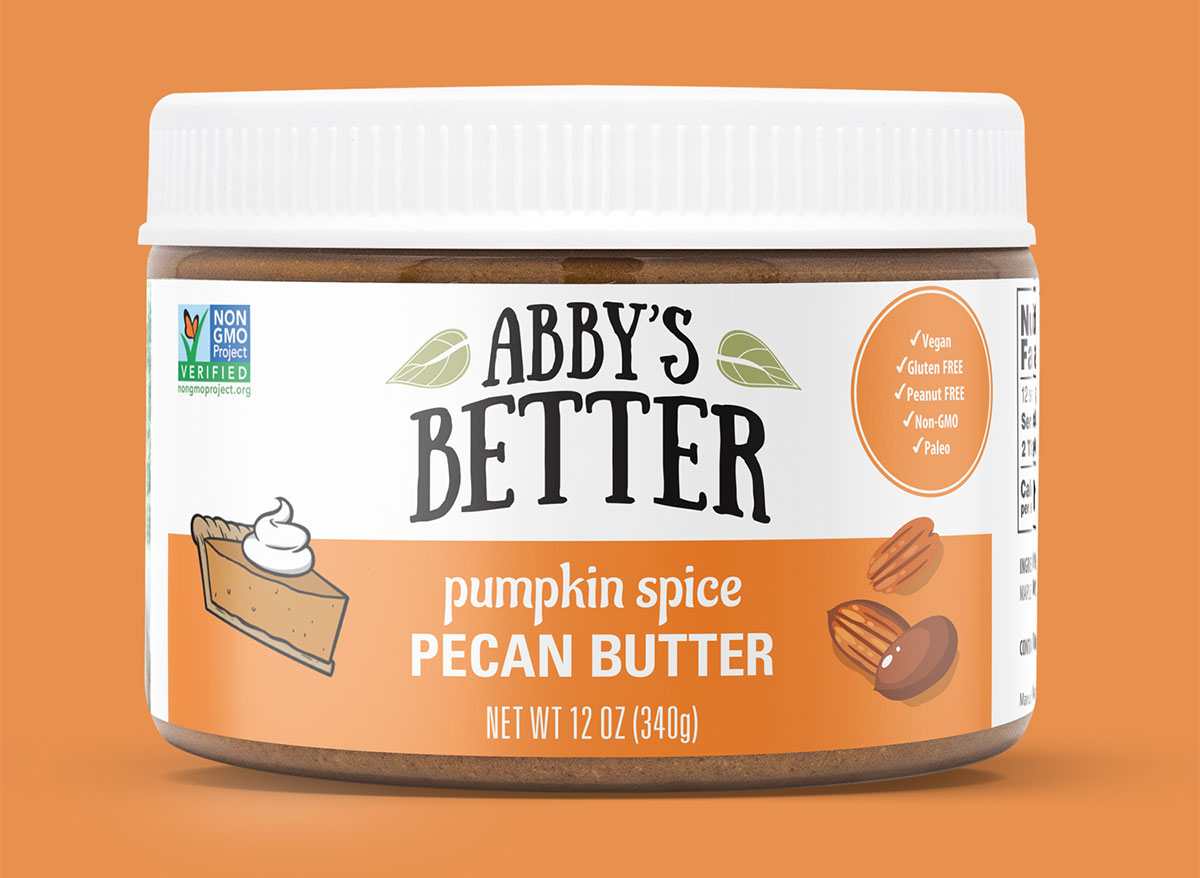 container of abbys better pumpkin spice pecan butter