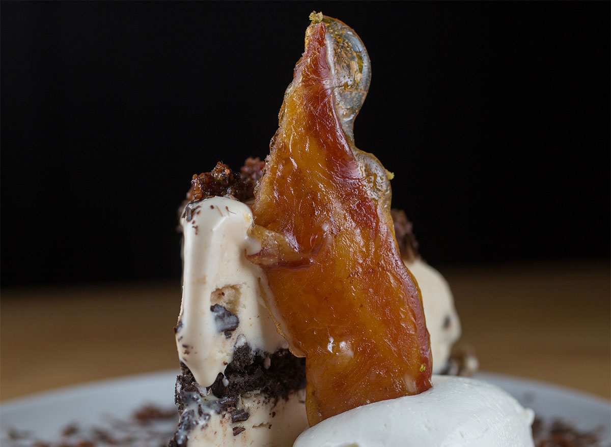ice cream pie topped with bacon slice