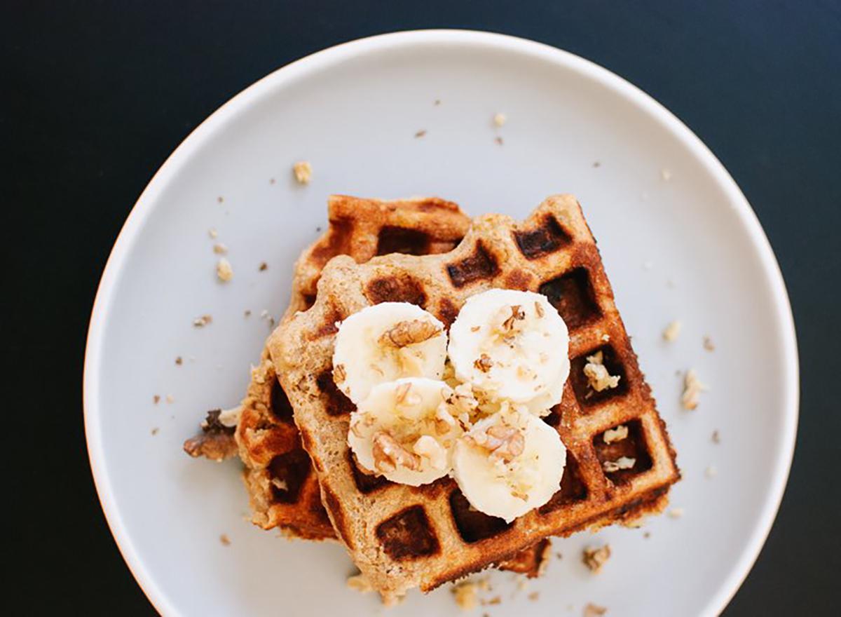 banana nut waffles on a plate