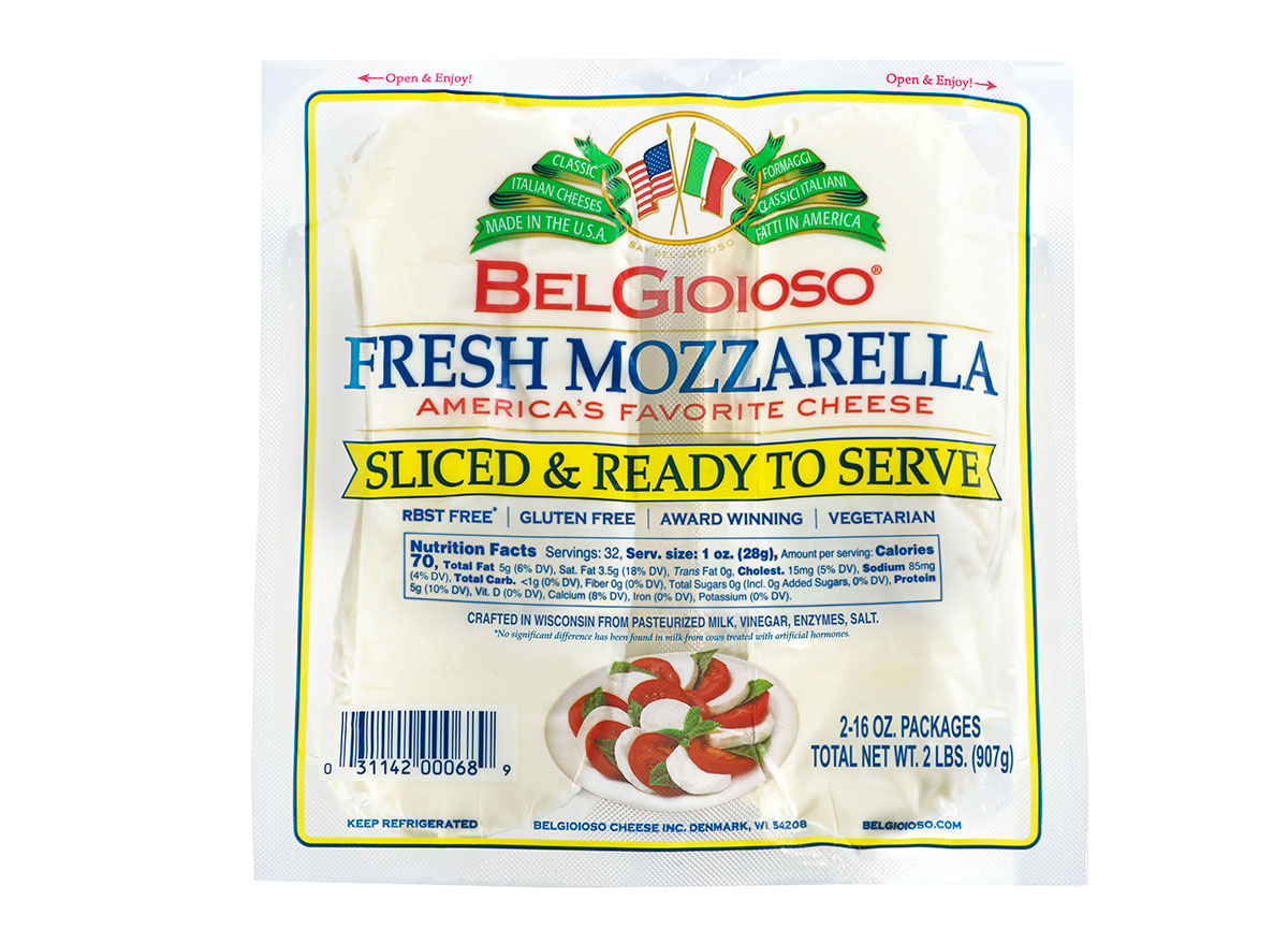 package of belgioioso sliced mozzarella