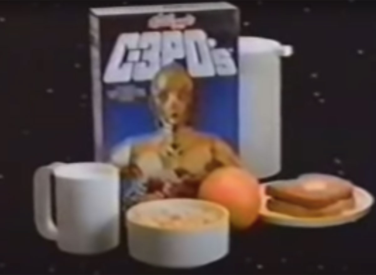 kelloggs c3pos star wars cereal with milk and toast