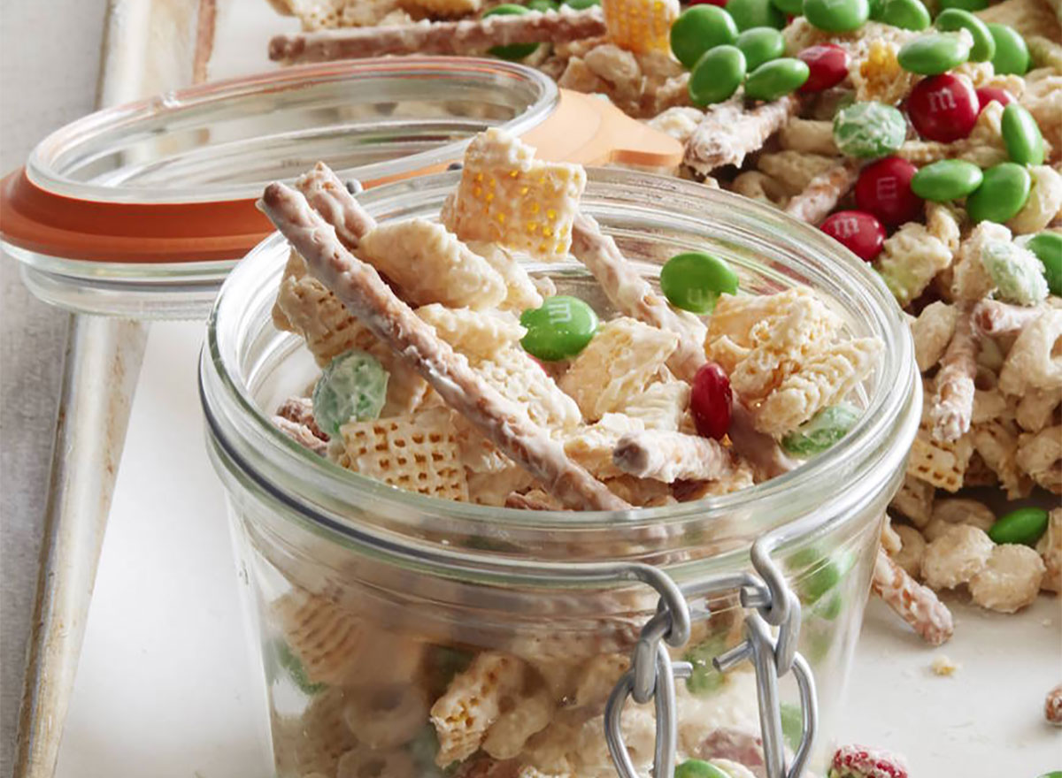 jar of christmas chex mix with pretzels mms white chocolate