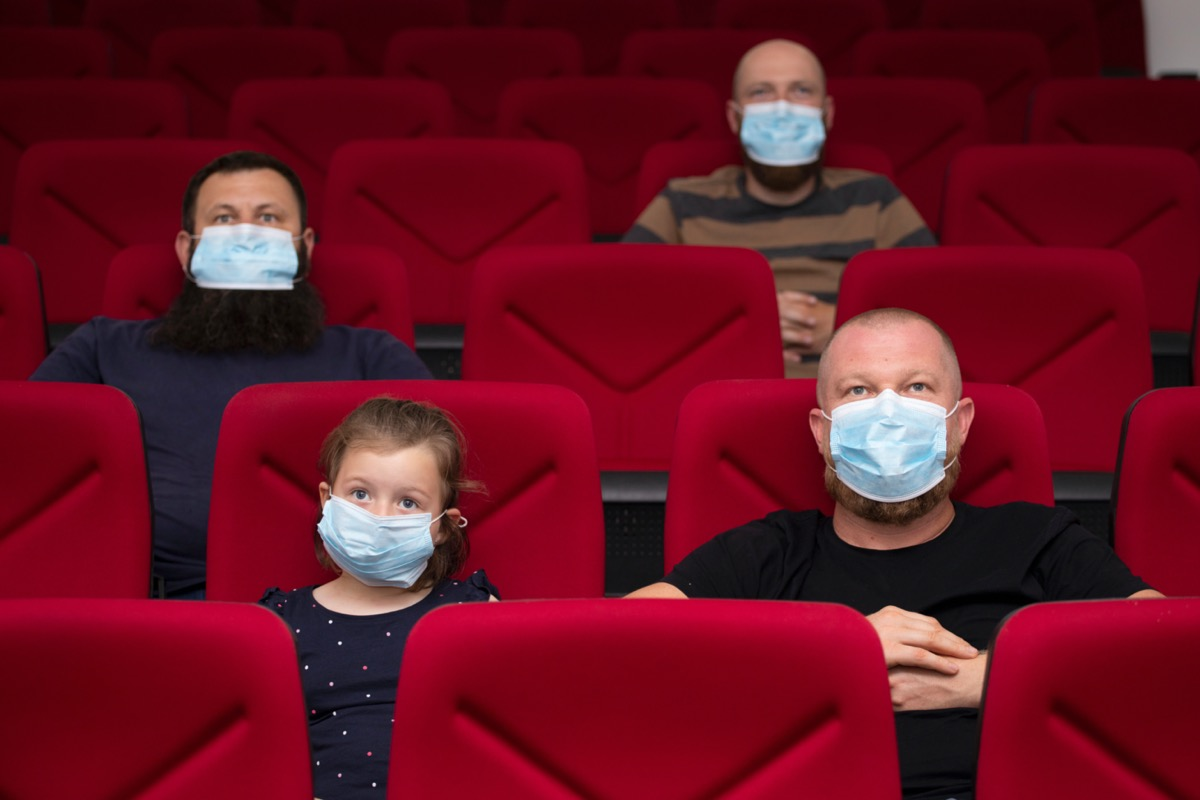 People in cinema with protection mask keeping distance away to avoid physical contact