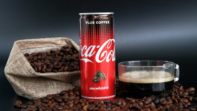 coca cola with coffee can with coffee beans