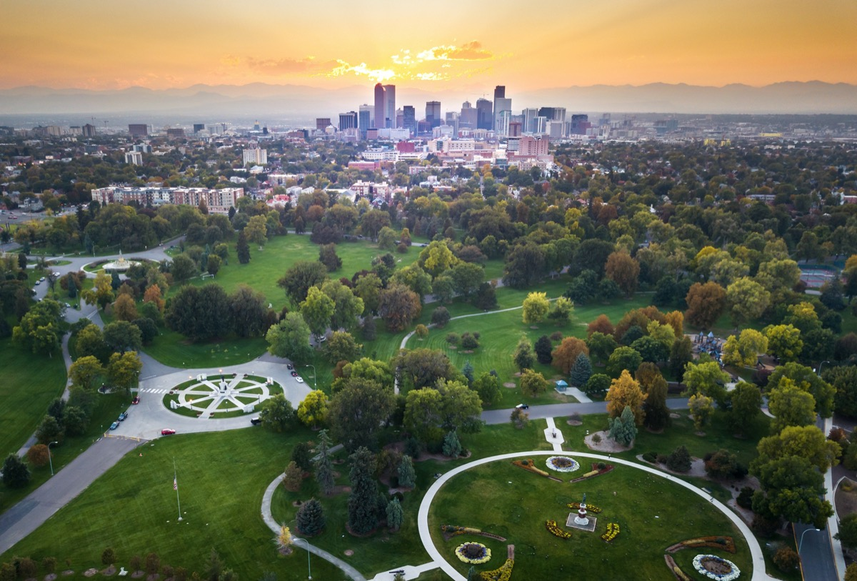 Sunset over Denver cityscape, aerial view from the city park