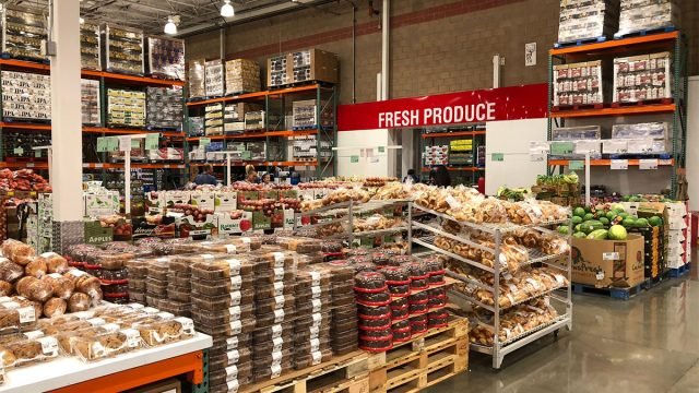 shelves and selection at costco bakery