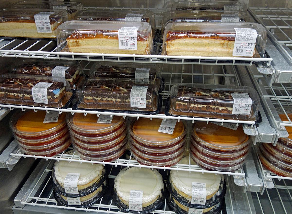 shelves of costco cakes
