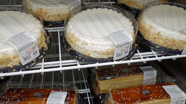 cakes on shelves at costco bakery
