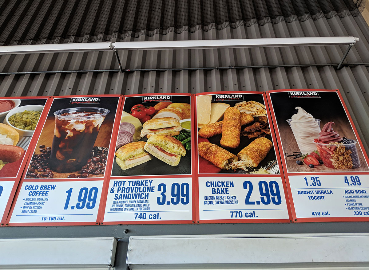 menu signs at the costco food court