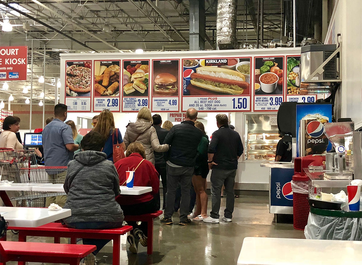 costco food court signs and seating