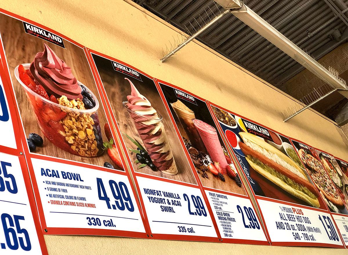 costco menu signs with acai bowl and frozen yogurt