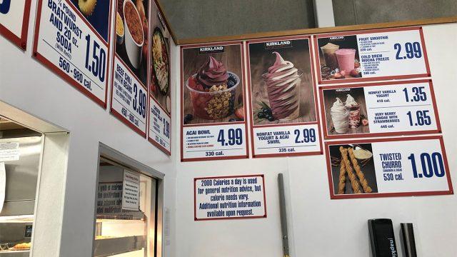 menu at costco featuring acai bowl and churros