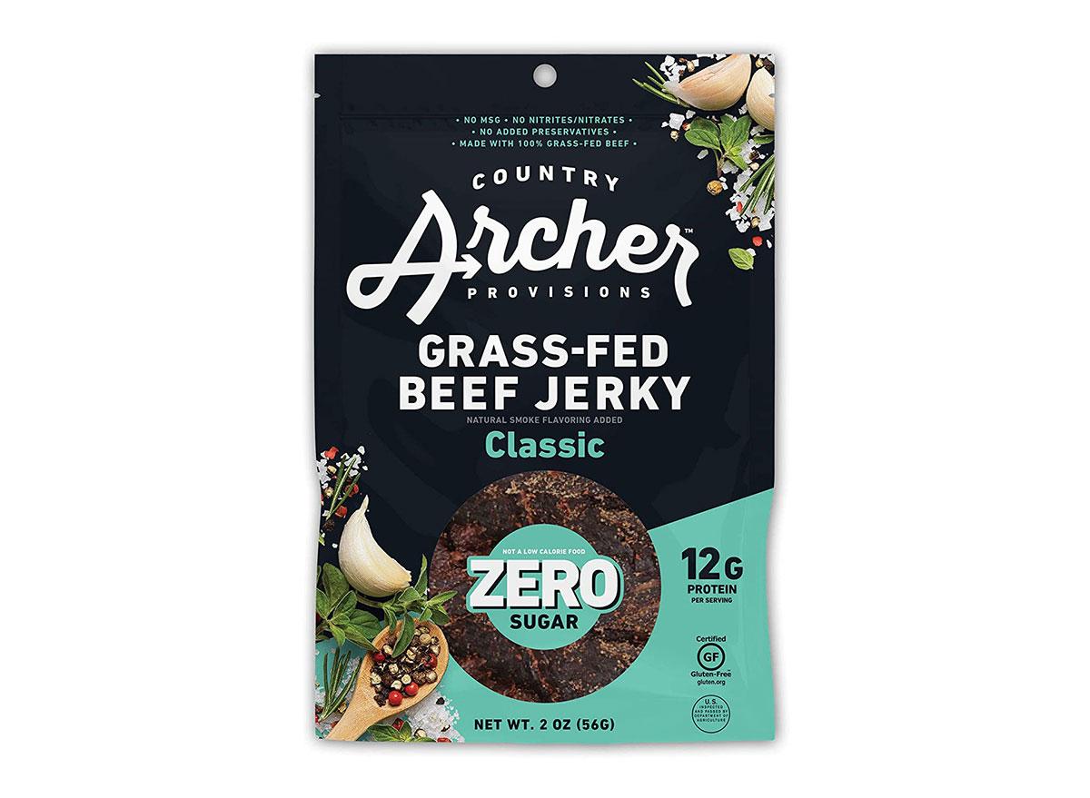 bag of country archer zero sugar beef jerky