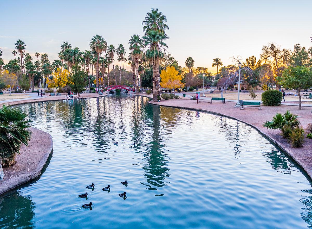trees and water at encanto park phoenix arizona