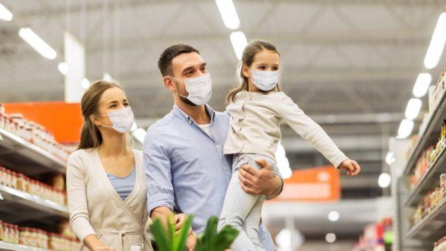 Family face mask shopping