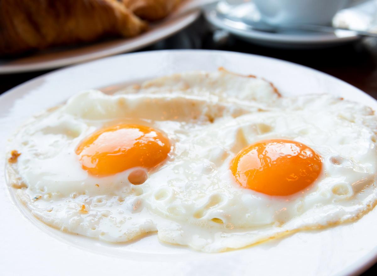 fried eggs sunny side up yolk