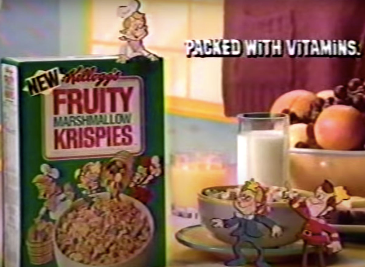 box of fruity marshmallow krispies from vintage commercial